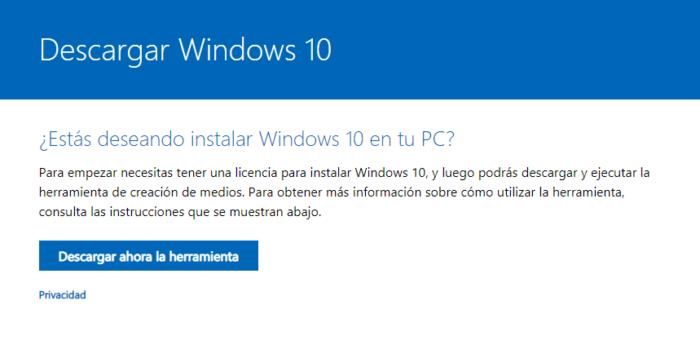 Herramienta microsoft para descargar windows 10