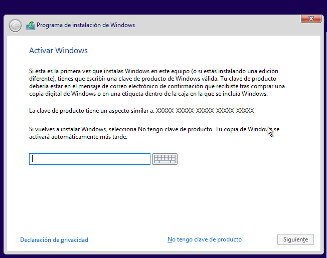 Clave de activacion windows 10