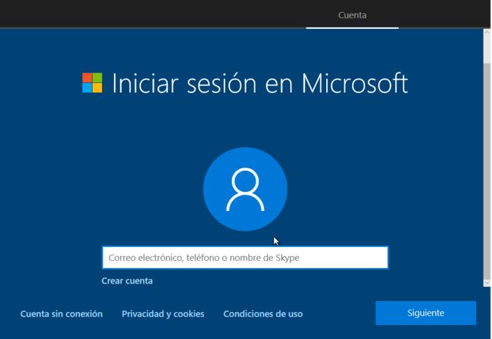 Configuracion Inicial windows 10 cuenta microsoft