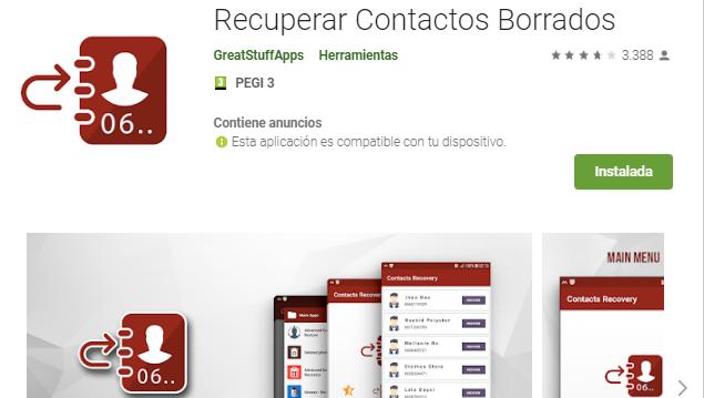 App para recuparar contactos en Android gratis